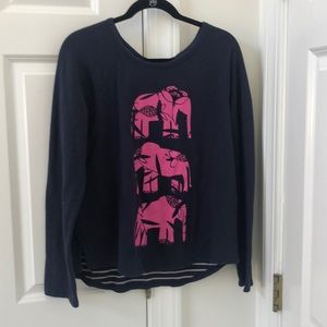 crown & ivy navy blue sweater with pink elephants